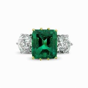 Columbian Emerald & Diamond Three Stone Ring  - 4.00ct